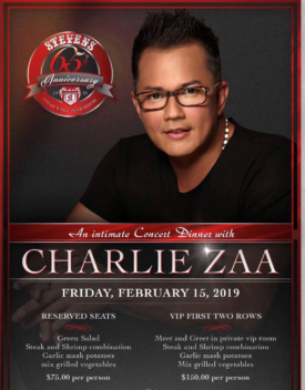 Charlie Zaa In Concert Feb 15 2019 at Steven's Steak & Seafood House